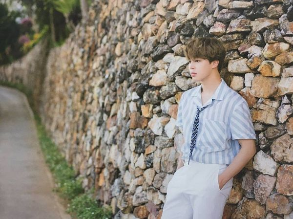 Tags: K-Pop, BTS, Park Jimin, Striped Shirt, Hand In Pocket, Wall, White Pants, Leaning On Wall, Loose Tie, Tie, Serious, Striped