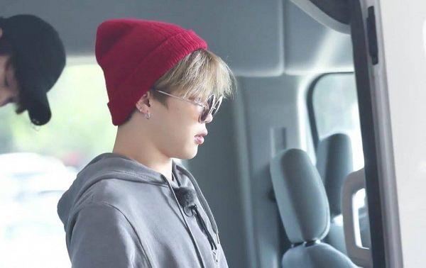 Tags: K-Pop, BTS, Park Jimin, Red Headwear, Sunglasses, In Car, Hood, Hat, Serious, Hoodie, Side View, Glasses