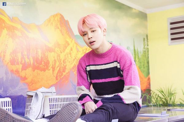 Tags: K-Pop, BTS, Spring Day, Park Jimin, Pink Hair, Pink Shirt, Black Pants, Black Eyes, Sweater, You Never Walk Alone