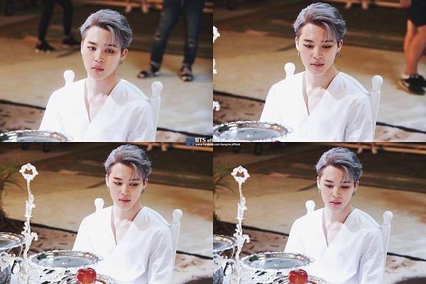 Tags: K-Pop, BTS, Blood Sweat & Tears, Park Jimin, Black Eyes, Table, Gray Hair, Collage, Eyeliner, Make Up, Chair, Wings (Album)