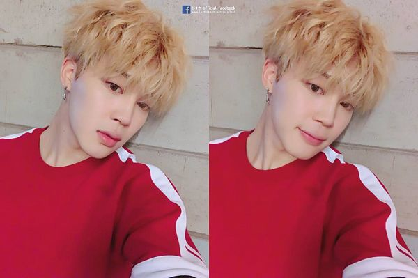Tags: K-Pop, BTS, Park Jimin, Sweater, Wavy Hair, Collage, Red Shirt, Facebook, Selca, Love Yourself: Her