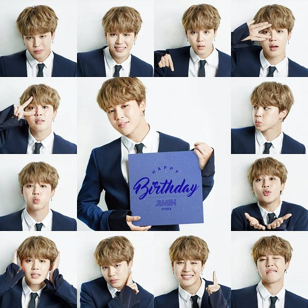 Tags: K-Pop, BTS, Park Jimin, Blue Outerwear, Text: Happy Birthday, Light Background, Blue Jacket, White Background, Collage, Tie
