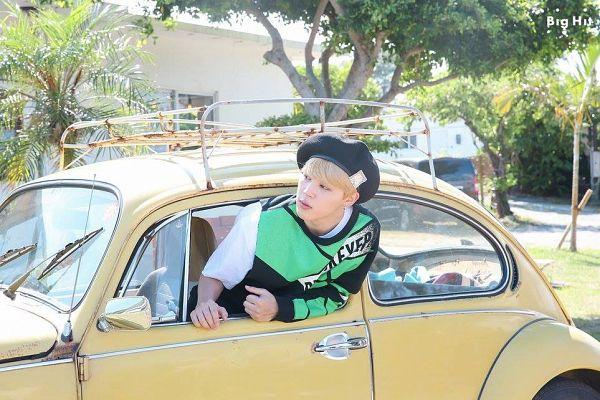 Tags: K-Pop, BTS, Park Jimin, Car, Plant, Hat, Black Headwear, Tree, In Car, BTS 2018 Season's Greetings