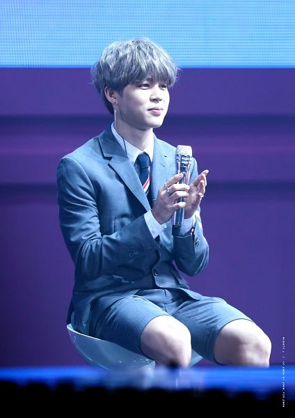 Tags: K-Pop, BTS, Park Jimin, Chair, Gray Shorts, Gray Hair, Stool, Gray Jacket, Shorts, Stage, Tie, Gray Outerwear