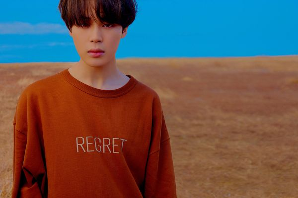 Tags: K-Pop, Bangtan Boys, Park Jimin, Closed Mouth, Outdoors, Sweater, Close Up, Clouds, English Text, Sky, Desert, Twitter