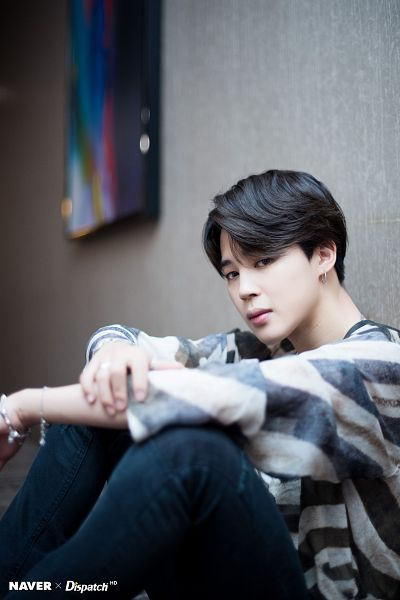 Tags: K-Pop, BTS, Park Jimin, Bracelet, Sitting On Ground, Hand On Arm, Striped Shirt, Indoors, Striped, Jeans, Canvas, Dispatch