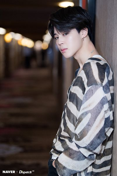 Tags: K-Pop, Bangtan Boys, Park Jimin, Hand In Pocket, Dark Background, Indoors, Striped, Striped Shirt, Dispatch