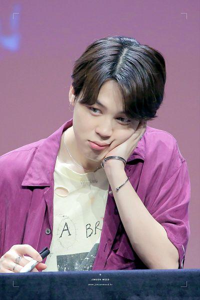 Tags: K-Pop, BTS, Park Jimin, Close Up, Purple Shirt, Necklace, Short Sleeves, English Text, Pen, Bracelet, Hand On Cheek, Hand On Head