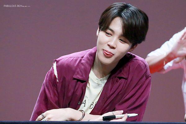 Tags: K-Pop, BTS, Park Jimin, Purple Shirt, Ring, Pen, Looking Away, Tongue, Holding Object, Open Shirt, Necklace, Close Up