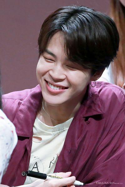 Tags: K-Pop, BTS, Park Jimin, Close Up, Open Shirt, Collar (Clothes), English Text, Grin, Purple Shirt, Eyes Closed, Pen, Holding Object