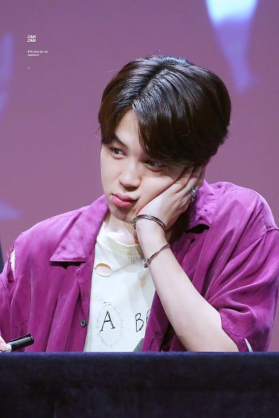 Tags: K-Pop, Bangtan Boys, Park Jimin, Collar (Clothes), Hand On Cheek, Purple Shirt, Short Sleeves, Ring, Pen, Necklace, Hand On Head, Open Shirt