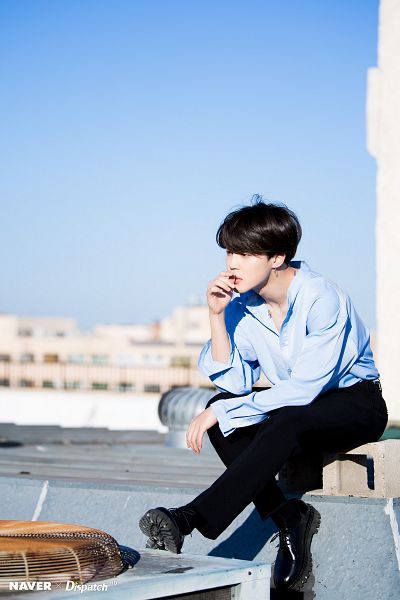 Tags: K-Pop, BTS, Park Jimin, Shoes, Black Footwear, Blue Shirt, Day, Necklace, Looking Ahead, City, Black Pants, Outdoors