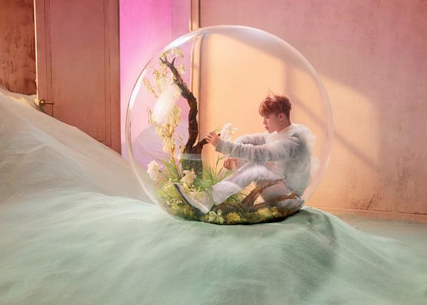 Tags: K-Pop, BTS, Park Jimin, Plant, See Through Clothes, Door, White Outfit, Full Body, White Flower, Tree, Indoors, Side View