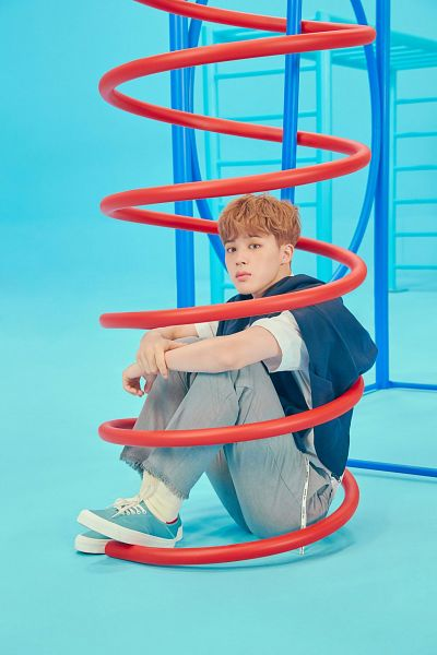 Tags: K-Pop, BTS, Park Jimin, White Legwear, Sneakers, Short Sleeves, Full Body, Sitting On Ground, Shoes, Gray Pants, Blue Background, Socks