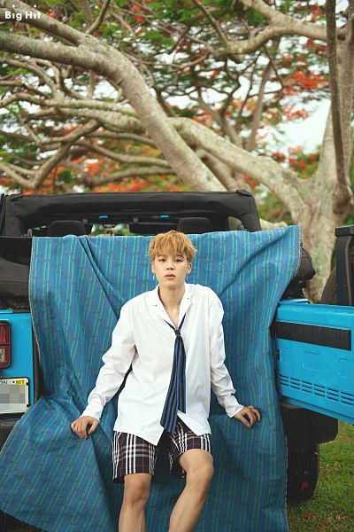 Tags: K-Pop, Bangtan Boys, Park Jimin, Tie, Striped, English Text, Text: Company Name, Blonde Hair, Striped Neckwear, Collar (Clothes), Shorts, Car