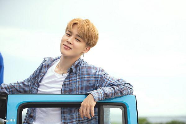 Tags: K-Pop, BTS, Park Jimin, Outdoors, Necklace, Plaided Print, Plaided Shirt, Close Up, Text: Company Name, Sky, English Text, Open Shirt
