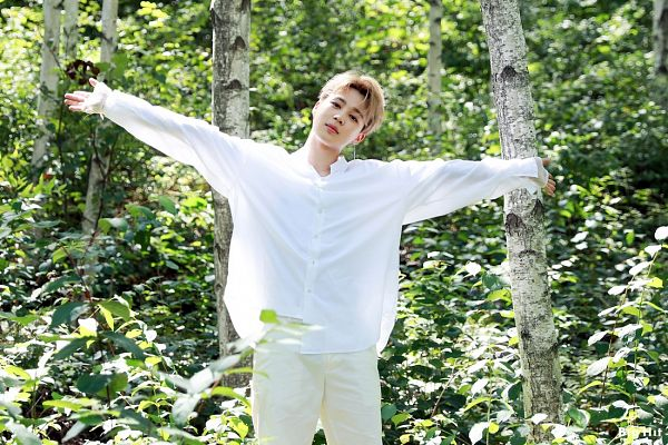 Tags: K-Pop, BTS, Park Jimin, Forest, Outdoors, English Text, Text: Company Name, White Pants, Arms Out, Tree, Plant, BTS 2019 Season's Greetings