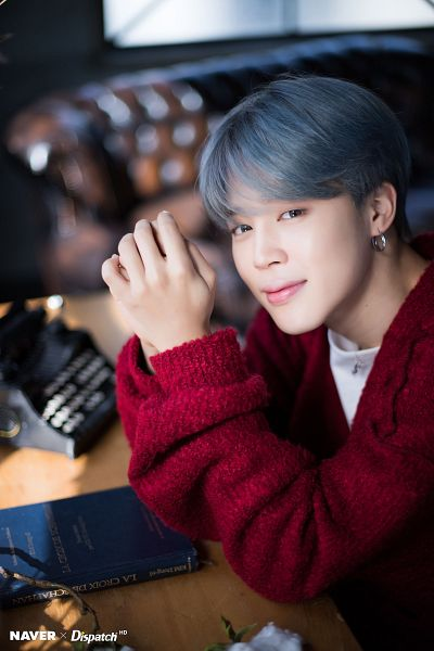 Tags: K-Pop, BTS, Park Jimin, Red Outerwear, Gray Hair, Red Jacket, Typewriter, Book, Dispatch