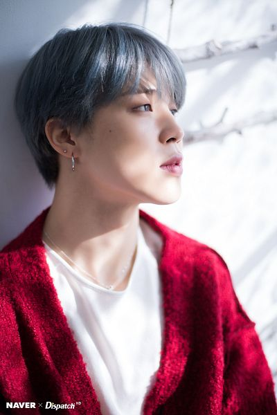 Tags: K-Pop, BTS, Park Jimin, Red Jacket, Necklace, Red Outerwear, Mole, Facial Mark, Gray Hair, Dispatch