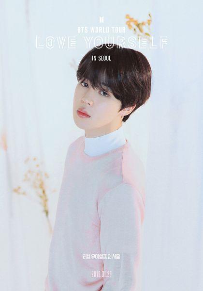 Tags: K-Pop, Bangtan Boys, Park Jimin, English Text, Pink Shirt, Earrings, Serious, Black Eyes, Text: Calendar Date, Korean Text, Poster, Scan