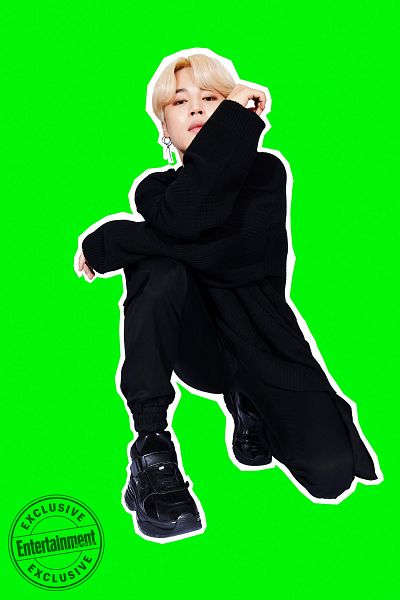 Tags: K-Pop, BTS, Park Jimin, Black Footwear, Green Background, Black Pants, Crouching, English Text, Serious, Entertainment Weekly, Magazine Scan, Scan