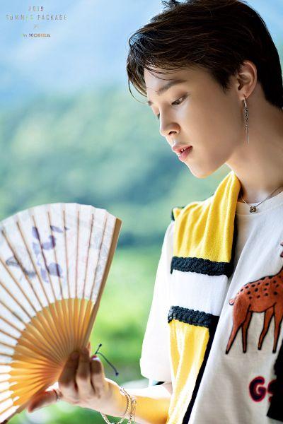 Tags: K-Pop, BTS, Park Jimin, Necklace, Looking Down, Bracelet, Fan, English Text, BTS 2019 Summer Package, Facebook, Twitter