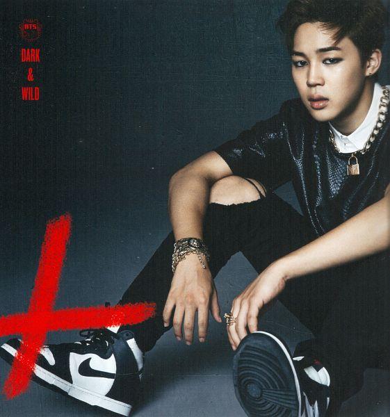 Tags: K-Pop, BTS, Park Jimin, Bracelet, Black Pants, Gray Background, Ring, Ripped Pants, Necklace, Sitting On Ground, Black Shirt, Scan