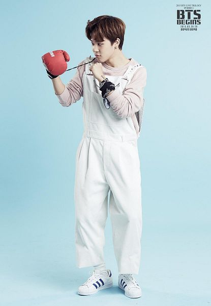 Tags: K-Pop, BTS, Park Jimin, Gloves, Text: Calendar Date, Blue Background, White Footwear, White Outfit, Boxing Gloves, Pink Shirt, English Text, Overalls