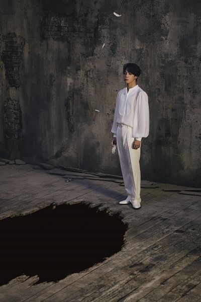 Tags: K-Pop, BTS, Park Jimin, White Outfit, Indoors, White Pants, Full Body, Dark Background, Hole, Ring, Feather, Shoes