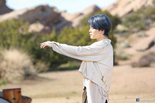 Tags: K-Pop, BTS, ON, Park Jimin, Side View, Text: Artist Name, Plant, Text: URL, Musical Instrument, Blue Hair, Mound, English Text