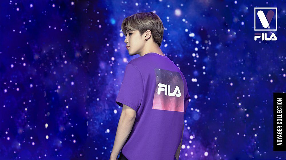 Tags: K-Pop, BTS, Park Jimin, Space, Dark Background, Sky, English Text, Purple Shirt, Short Sleeves, Stars (Sky), Back, Black Eyes