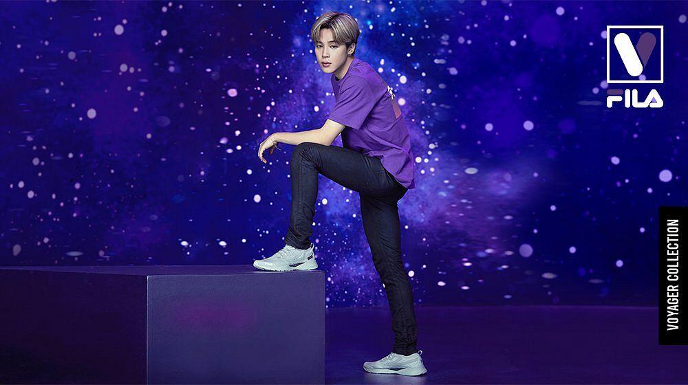 Tags: K-Pop, BTS, Park Jimin, Shoes, Dark Background, Sky, Sneakers, Silver Footwear, Short Sleeves, Stars (Sky), Black Pants, Purple Shirt