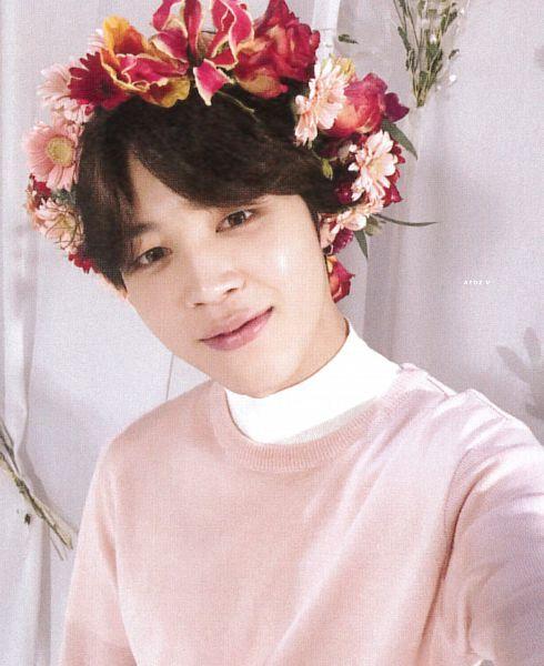 Tags: K-Pop, BTS, Park Jimin, Curtain, Crown, Red Flower, Pink Flower, White Flower, Flower, Head Tilt, Leaf, Sweater