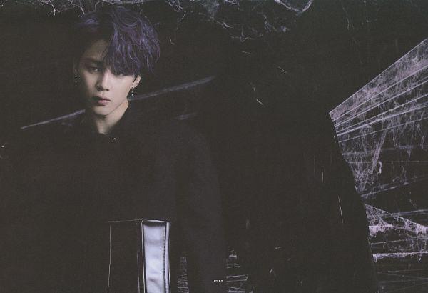 Tags: K-Pop, BTS, Park Jimin, Angel Wings, Wings, Head Tilt, Corset, Blue Hair, Feather, Dark Background, Scan, Map of the Soul: 7