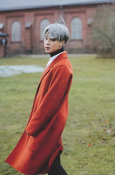 Tags: K-Pop, BTS, Park Jimin, Black Eyes, Outdoors, Coat, Gray Hair, Wind, Flowing Hair, Black Pants, Red Outerwear, Collar (Clothes)