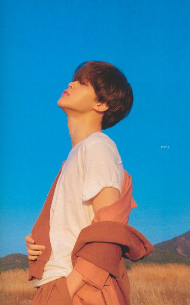 Tags: K-Pop, BTS, Park Jimin, Looking Up, Desert, Short Sleeves, Outdoors, Orange Outerwear, Cardigan, Grass, Sky, Day
