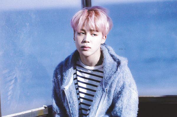 Tags: K-Pop, BTS, Park Jimin, Beach, Sky, Pink Hair, Striped, Black Eyes, Fur, Hood, Sand, Bus Stop