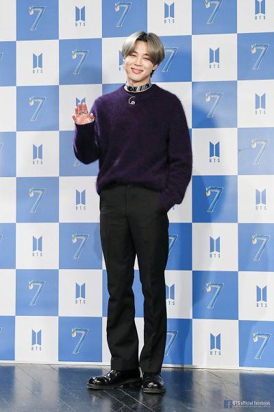 Tags: K-Pop, BTS, Park Jimin, Text: Artist Name, Ring, Reflection, Indoors, Black Pants, Shadow, Shoes, English Text, Choker
