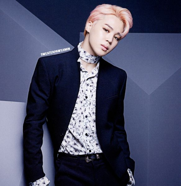 Tags: K-Pop, BTS, Park Jimin, Belt, Head Tilt, Pink Hair, Bandana, Black Pants, Contact Lenses, Hand In Pocket, Serious, Scan