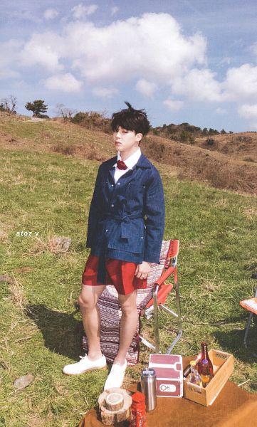 Tags: K-Pop, BTS, Park Jimin, Outdoors, Bare Legs, Grass, Bottle, Serious, Buttons, Ring, Blue Jacket, Red Neckwear
