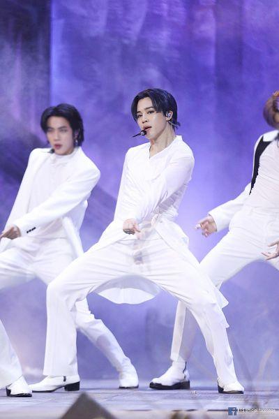 Tags: Television Show, K-Pop, BTS, Black Swan, Park Jimin, Jin, Rap Monster, Boots, White Pants, Text: Artist Name, English Text, Three Males