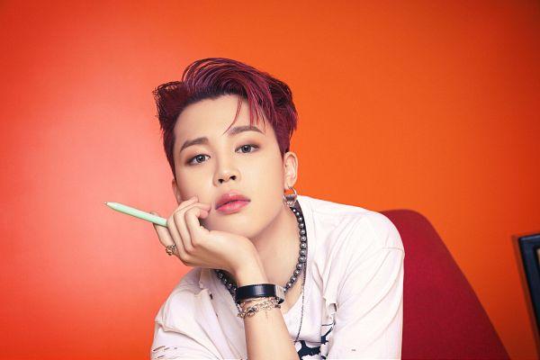 Tags: K-Pop, BTS, Butter, Park Jimin, Bracelet, Arm Support, Pen, Ring, Orange Background, Necklace, Red Hair