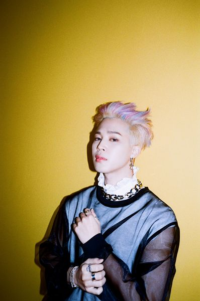 Tags: K-Pop, BTS, Butter, Park Jimin, Yellow Background, Multi-colored Hair, Ring, Necklace, Bracelet