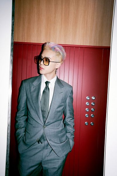 Tags: K-Pop, BTS, Butter, Park Jimin, Sunglasses, Gray Outerwear, Looking Away, Gray Pants, Multi-colored Hair, Gray Neckwear, Suit, Gray Jacket