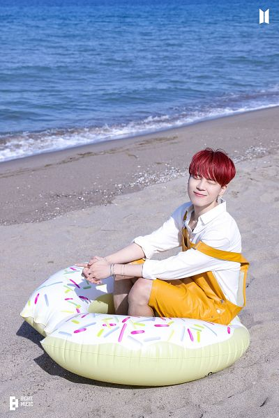 Tags: K-Pop, BTS, Butter, Park Jimin, Beach, Overalls, Red Hair, Flotation Devices, Bracelet, Water, Eyes Closed, Sand