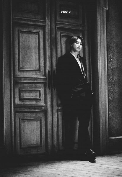 Tags: K-Pop, BTS, Park Jimin, Hand In Pocket, Door, Monochrome, Suit, Serious, Scan, Map of the Soul: 7 ~The Journey~