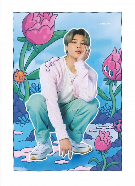 Tags: K-Pop, BTS, Park Jimin, White Footwear, Blue Pants, Pink Outerwear, Ring, Pink Jacket, Gray Hair, Necklace, Hand On Head, Blue Background