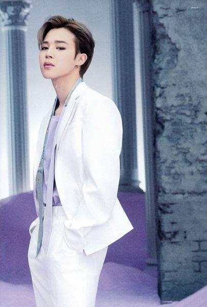 Tags: K-Pop, BTS, Park Jimin, White Outerwear, Purple Shirt, White Jacket, Serious, White Pants, Column, Wall, Sand, BTS The Best