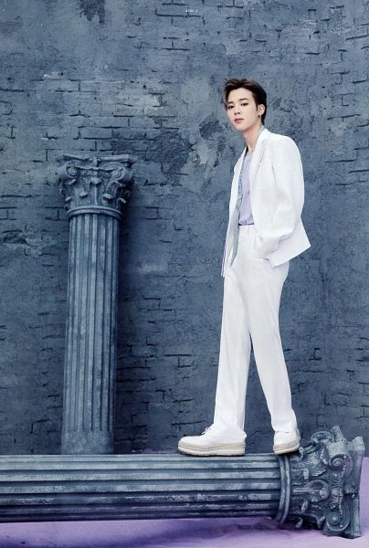 Tags: K-Pop, BTS, Park Jimin, White Pants, Serious, Column, Wall, Hand In Pocket, White Outerwear, White Jacket, Purple Shirt, BTS The Best