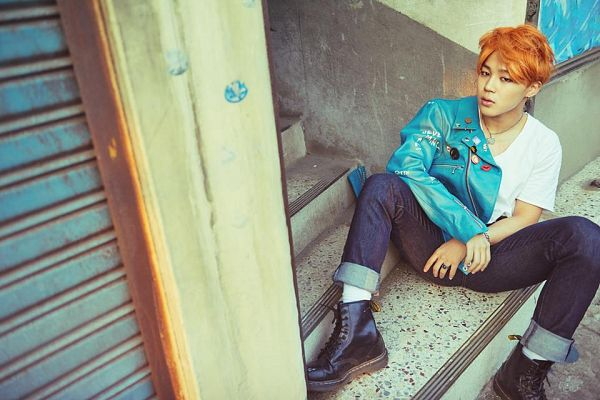 Tags: K-Pop, BTS, Park Jimin, Red Hair, Blue Outerwear, Sitting On Ground, Serious, Stairs, Ring, Blue Jacket, The Most Beautiful Moment in Life pt.2